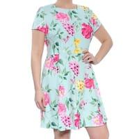 JESSICA HOWARD Womens Aqua Floral Short Sleeve Jewel Neck Above The Knee Dress  Size: 14