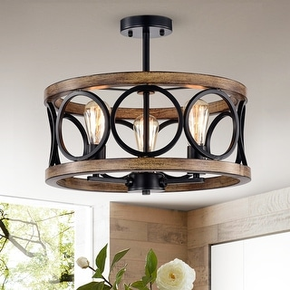 Shacer Matte Black/ Faux Wood 3-light Hood Design Ceiling Lamp