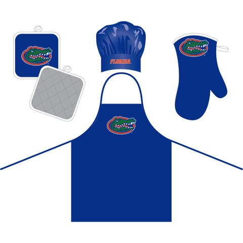 florida gators bundle cheft hat & apron - oven mitt & pot holder set - blue