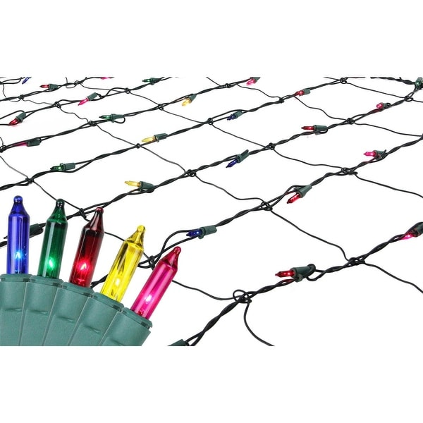 4' x 6' Multi-Color Mini Net Style Christmas Lights - Green Wire