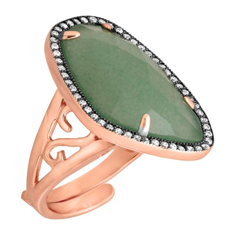 Aventurine & Cubic Zirconia Ring in 18K Rose Gold-Plated Sterling Silver