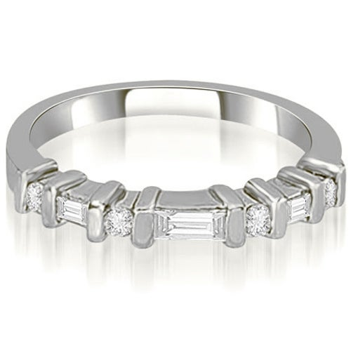 0.35 cttw. 14K White Gold Round and Baguette Diamond Wedding Band