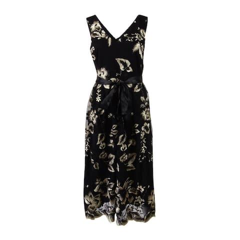 SL Fashions Women's Belted Embroidered Mesh Midi Dress - Black Beige