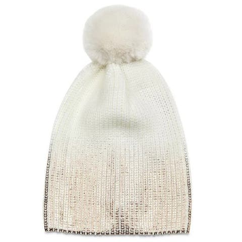 Jocelyn Womens Ivory Rose Gold Metallic Pom Pom Knit Hat Beanie