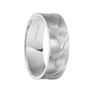 WADE 14k White Gold Wedding Band Braided Woven Design Satin Brushed Finish Flat Edges by ArtCarved - 7 mm