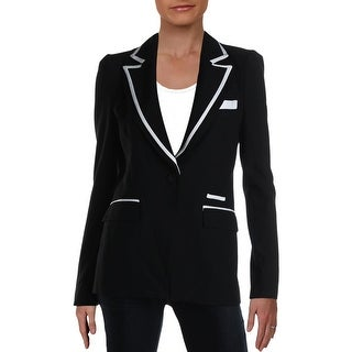 Link to Rachel Zoe Womens Abbie Tuxedo Jacket Wide Lapel Contrast Trim - Black/Ecru Similar Items in Suits & Suit Separates
