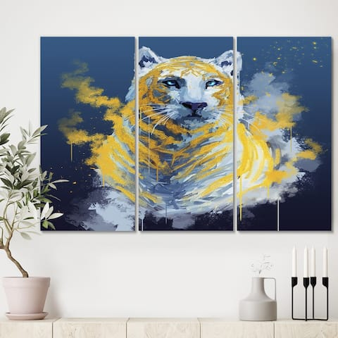 Designart 'Tiger Spirit In Blue And Gold' Abstract Canvas Wall Art - 36x28 - 3 Panels