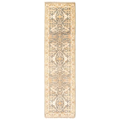ECARPETGALLERY Hand-knotted Royal Ushak Grey Wool Rug - 2'6 x 10'0