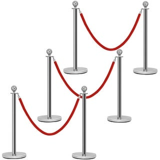 Costway 6Pcs Stanchion Posts Queue Pole Retractable 3 Velvet Ropes Crowd Control Barrier - Sliver