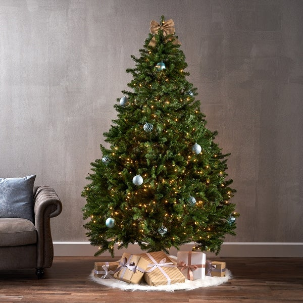 """7-foot Norway Spruce Hinged Artificial Christmas Tree by Christopher Knight home - 58.00"""" L x 58.00"""" W x 84.00"""" H. Opens flyout."""