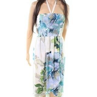 Bobeau NEW Green Womens Size Small S Smocked Haltered Shift Dress