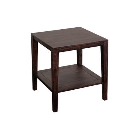Porter Designs Fall River Solid Sheesham Wood End Table, Gray