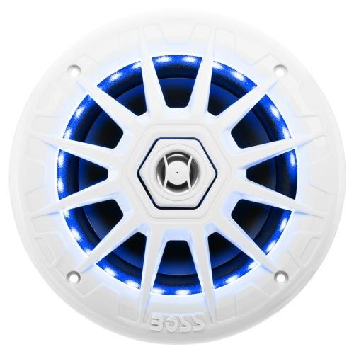 "Boss MRGB65 Boss Audio MRGB65 Marine 6.5"" 2-way 200-watt Full Range Speakers with Multicolor Illumination Options - 70 Hz"