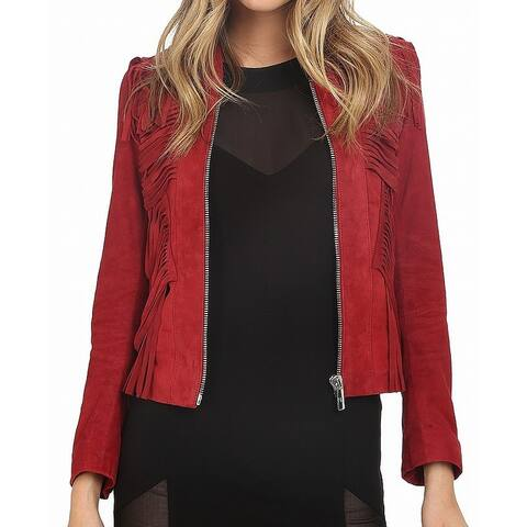 Nour Hammour Womens Fallaway Suede Jacket Red Medium M Fringe Full-Zip
