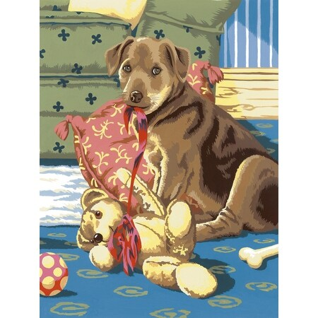 """Junior Small Paint By Number Kit 8.75""""X11.75""""-Puppy W/Teddy Bear"""