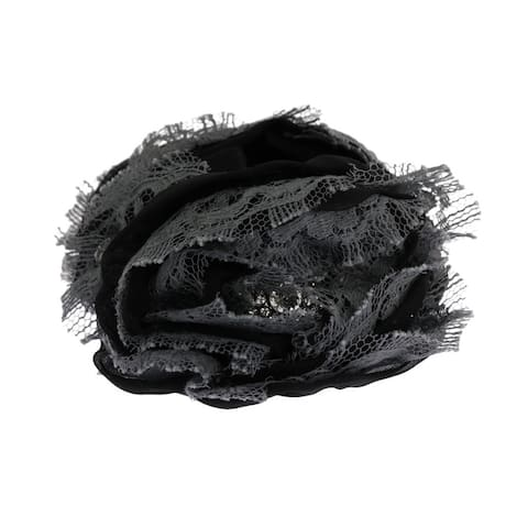 Dolce & Gabbana Black Gray Floral Lace Crystal Hair Women's Claw - One Size