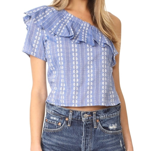 e817003ab3 Splendid Blue Women's Small S One-Shoulder Chambray Floral Blouse