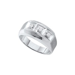 10k White Gold Mens Round 3-stone Natural Diamond Brushed-Satin Masculine Wedding Band 1/10 Cttw