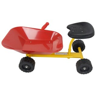 Gymax 8'' Heavy Duty Kids Ride-on Sand Dumper Front Tipping w 4 Wheels Sand Toy Gift - yellow+ black+ red