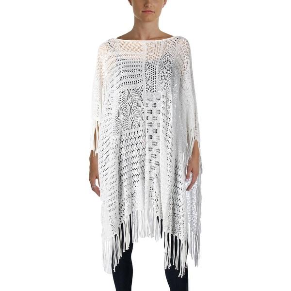 Lauren Ralph Lauren Womens Poncho Top Linen Blend Crochet