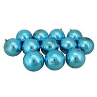 "12ct Turquoise Blue Shatterproof Shiny Christmas Ball Ornaments 4"" (100mm)"