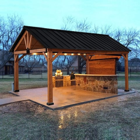 Outsunny 13' x 11' Wooden Outdoor Patio Gazebo Canopy with Sold Wood Frame, Water & Sun Resistant Slanted Roof