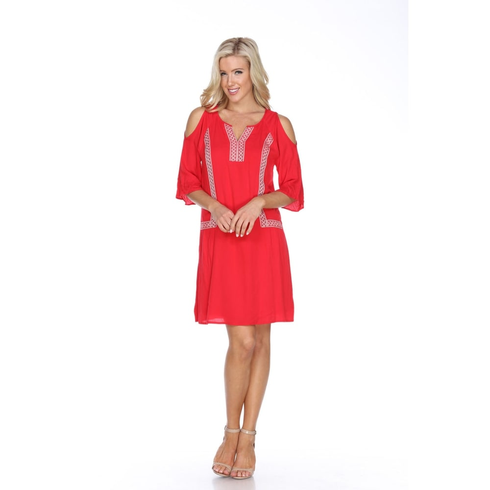 Marybeth Embroidered Dress - Red