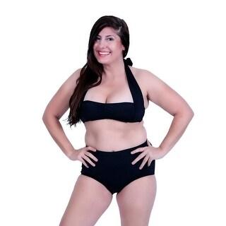 Womens Black Twist Front Halter Bandeau Top Mid-Rise Brief 2 Pc Swimsuit