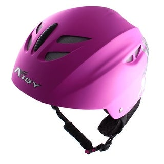Adjustable Release Buckle Chin Strap Foam Lining Skiing Sports Helmet Fuchsia
