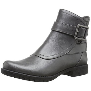 LifeStride Womens Marvel Motorcycle Boots Faux Leather Ankle