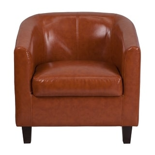 Offex Cognac Leather Lounge Chair