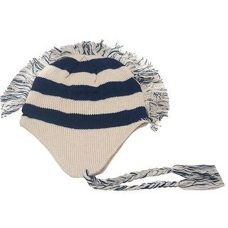 Girls Beige Navy Stripe Fringed Mohawk Earflap Braided Tassel Beanie