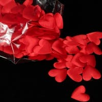 """Club Pack of 800 Radiant Red Small Satin Hearts 1"""""""