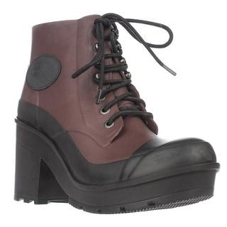 Hunter Original Block Heel Lace Up Rainboots, Umber/Black