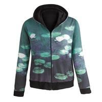 Women's Fine Art Front Zip-Up Hoodie Sweatshirt - Water Lilies