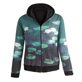 Women's Fine Art Front Zip-Up Hoodie Sweatshirt - Water Lilies