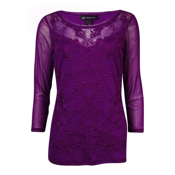 INC International Concepts Women's Embroidered Mesh Blouse