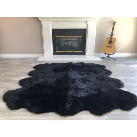 """Dynasty Natural 8-Pelt Luxury Long Wool Sheepskin Black Shag Rug - 5'5"""" x 6'8"""""""