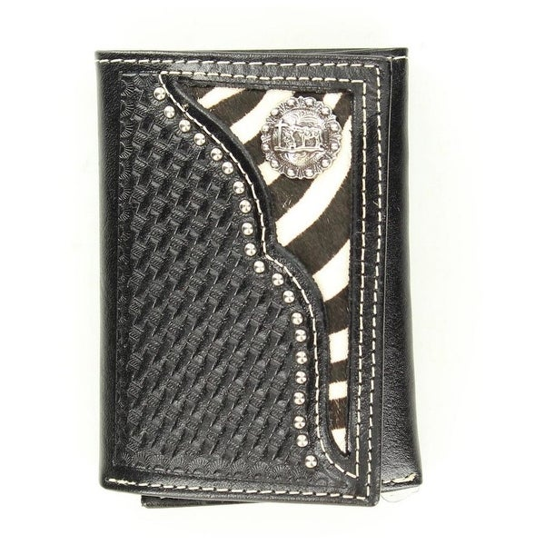 Nocona Western Wallet Mens Trifold Zebra Cowboy Prayer Black - One size