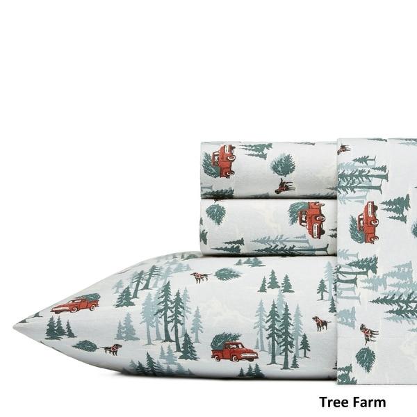 Bed Sheet Set Queen Fish Green Deep Pocket Cotton Flannel 4 Piece Eddie Bauer