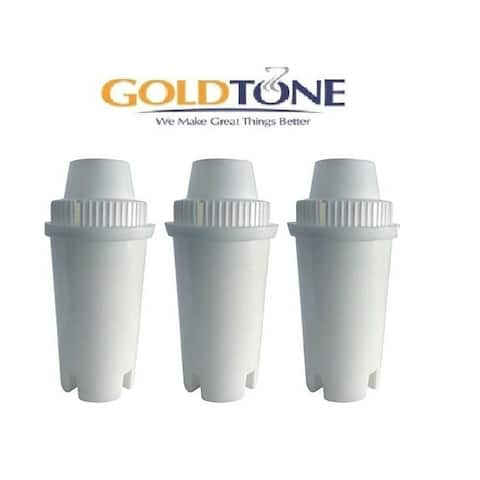 (3) GoldTone Charcoal Water Filters for BRITA and MAVEA - Replacement Water Pitcher Filter