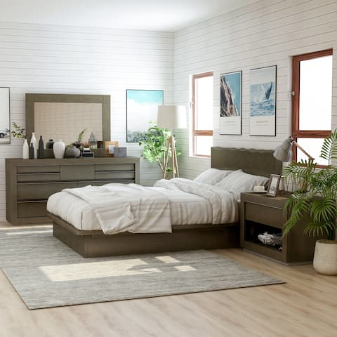 Furniture of America Puly Walnut Solid Wood 4-piece Bedroom Set
