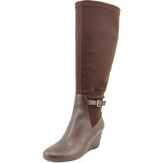 Isaac Mizrahi Krystal Wide Calf Round Toe Leather Knee High Boot