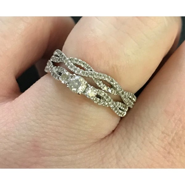 Annello 14k Gold 12ct TDW Diamond Braided Bridal Ring Set Free
