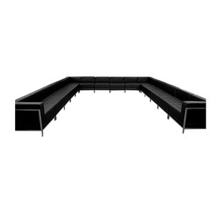 Offex 16 Piece Contemporary Black Leather U-Shape Reception Area Sectional Configuration [OFX-274388-FF]