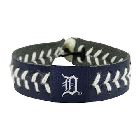MLB Detroit Tigers Sports Team Logo Team Color Leather Baseball Bracelet