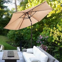 Costway 9FT Patio Umbrella Patio Market Steel Tilt W/ Crank Outdoor Yard Garden - Beige