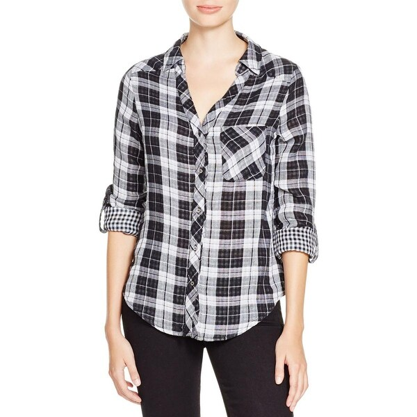 Soft Joie Womens Cydnee Button-Down Top Checkered Hi-Low Hem