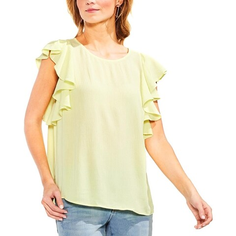 Vince Camuto Womens Blouse Textured Ruffle Sleeves