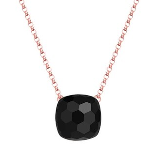 Vedantti Max Honeycomb Cut Black Onyx Gemstone Protector Solitaire Necklace